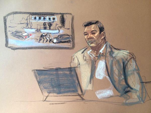 A court drawing of Laurel Street resident James Floyd watching video of the shootout.