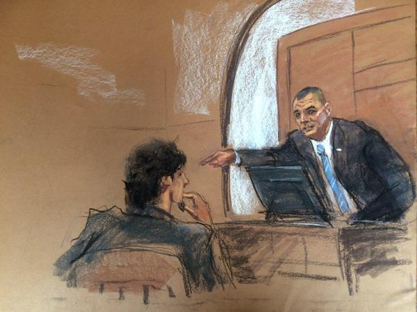 Watertown Police Officer Joseph Reynolds identifies Boston Marathon Bombing suspect Dzhokhar Tsarnaev in Boston Federal Court.