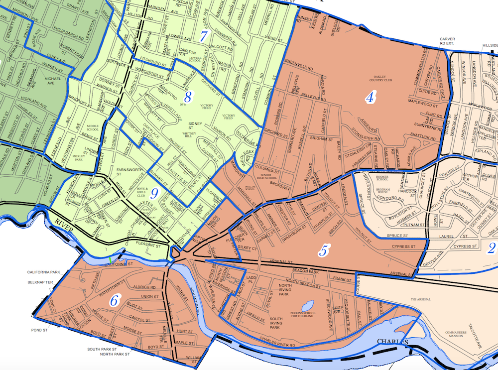 A map of Watertown's District B, which includes Precincts 4, 5 and 6.