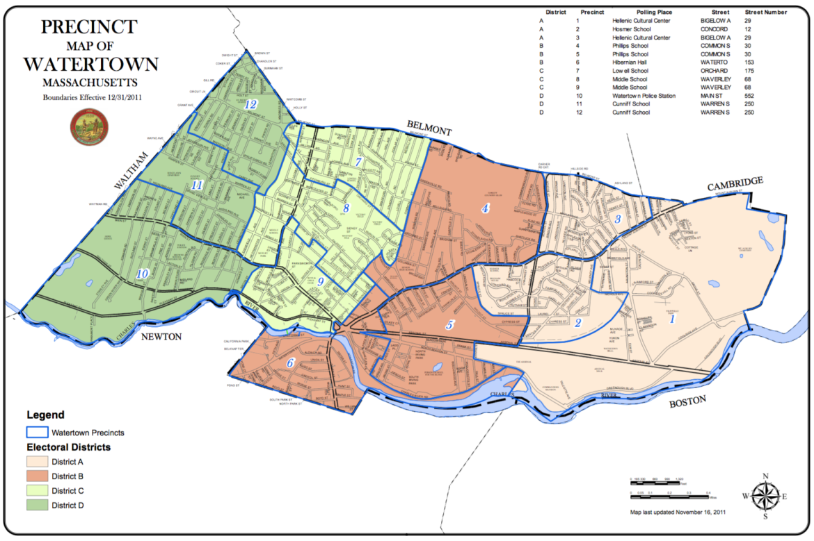 A map of Watertown's Districts: Peach is A, Red is B, Lime Green is C, Green is D.