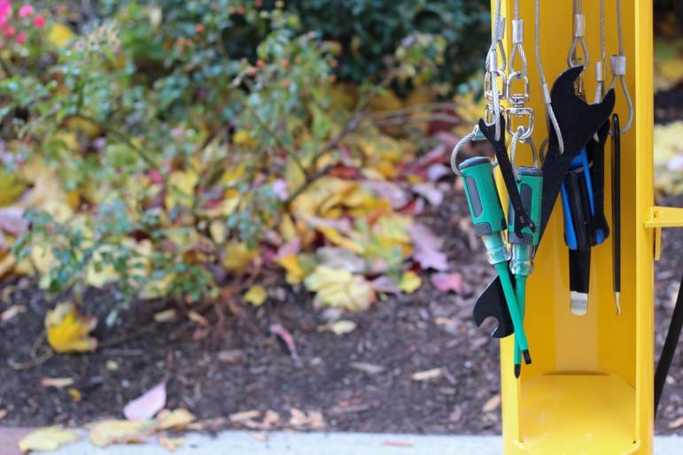 Maintain your bicycle at the Watertown Free Public Library at the new bicycle repair station.