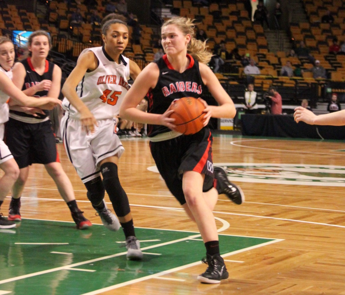 Watertown's Shannon Murphy drives to the hoop in the state semifinal. The junior center scored 20 points.