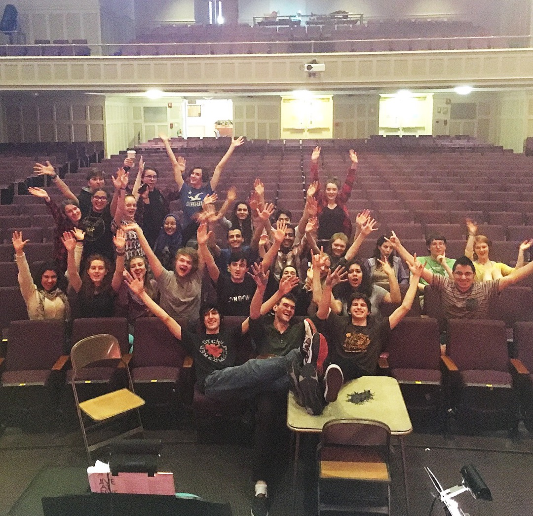 Watertown High School students take a break from preparing for the spring musical, Fiddler on the Roof.