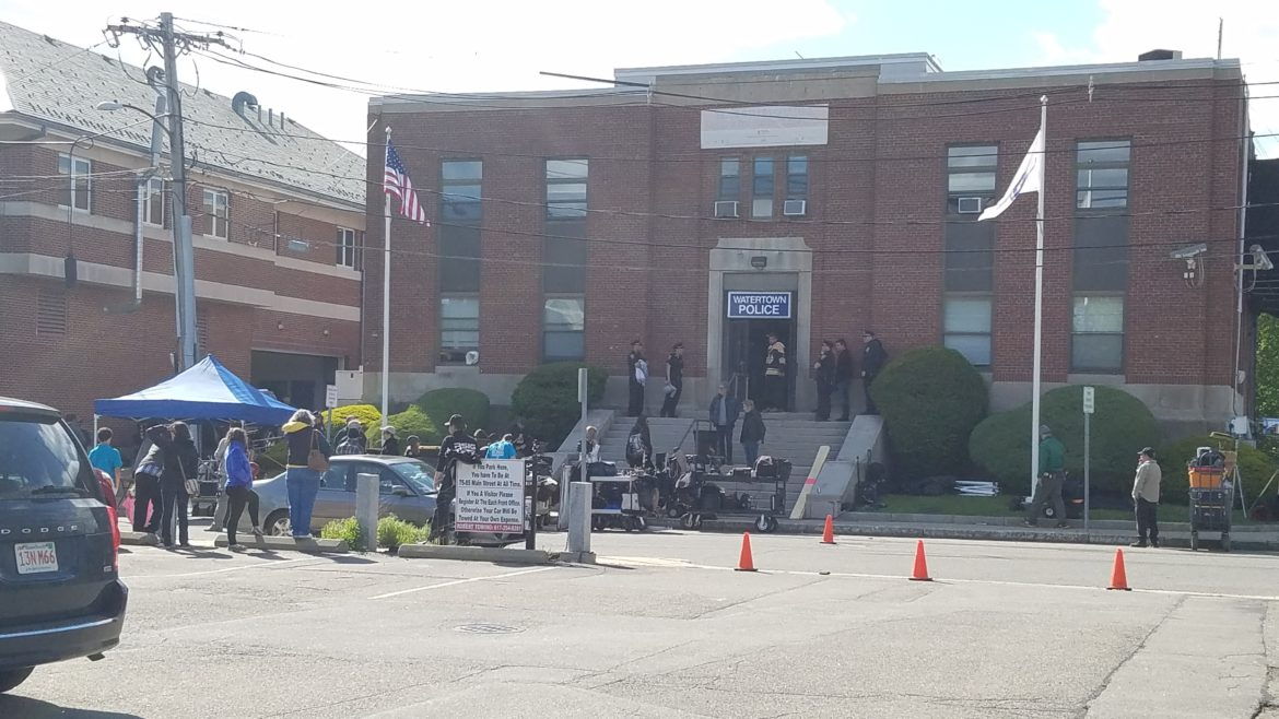 "Crews set up outside the old Watertown Police Station to shoot part of the film, ""Patriots Day."""
