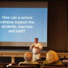 Michael van Hamel, a consultant working on Watertown's school master plan, talks about the needs of modern schools during a community forum.
