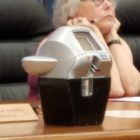 The Town Council is mulling over whether to buy smart parking meters, like this one, which takes multiple types of payments and provides data, but also have a larger price tag.