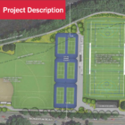A rendering of the Daly Field complex across the river from Watertown on Nonantum Road. There will be synthetic turf fields for soccer, football, field hockey and softball plus tennis courts.