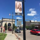 One of the new banners, this one featuring Charles Pratt, celebrating historical figures who lived in Watertown.