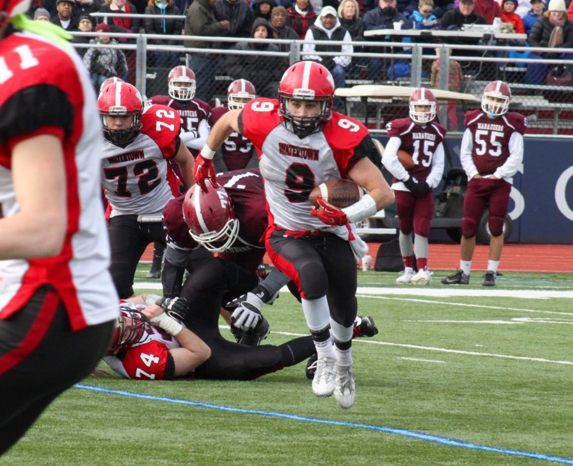 Watertown senior Vasken Kebabjian carried for more than 200 yards and three touchdowns in the win over rival Belmont.